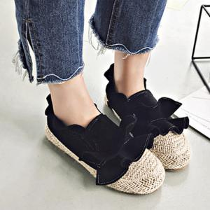 Straw Insert Ruffle Flat Shoes - Black - 38