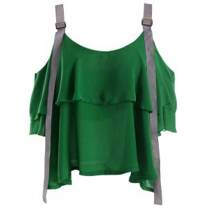 Layered Cold Shoulder Chiffon Top - Green - One Size