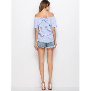 Bowknot Convertible Off The Shoulder Blouse - STRIP PATTERN S