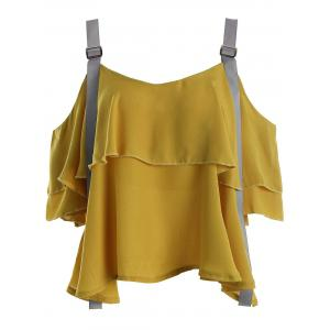 Layered Cold Shoulder Chiffon Top