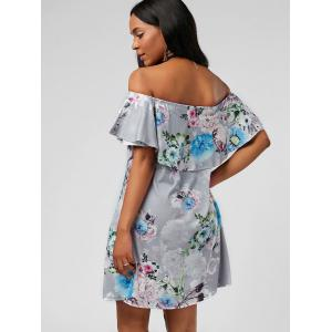 Ruffle Floral Off The Shoulder Dress - GRAY L