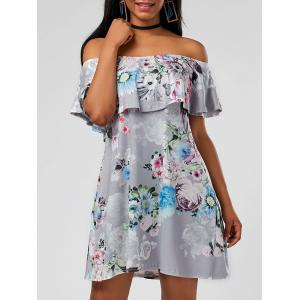 Ruffle Floral Off The Shoulder Dress