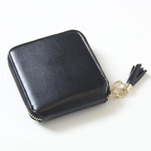 Tassel Zipper Around Small Wallet - BLACK