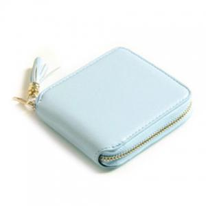 Tassel Zipper Around Small Wallet - Light Blue