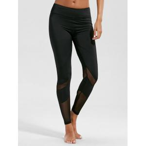 High Rise Mesh Panel Fitness Leggings - Black - Xl