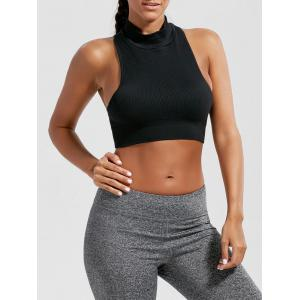 Padded High Neck Sports Crop Bra Top - Black - S