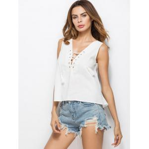 Open Back Slit Lace Up Tank Top - WHITE M