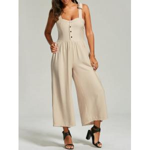 Buttoned Wide Leg Jumpsuit - Light Apricot - One Size