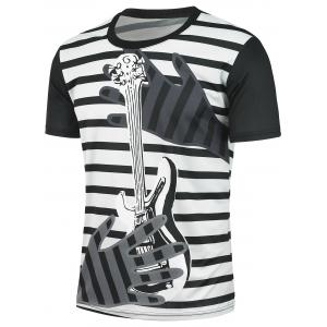 Striped and Guitar Printed Short Sleeves T-shirt