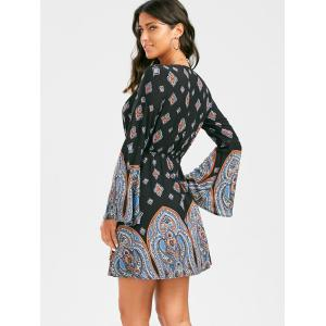 Low Cut Short Paisley Print Plunging Neckline Bohemian Tunic Dress - BLACK S