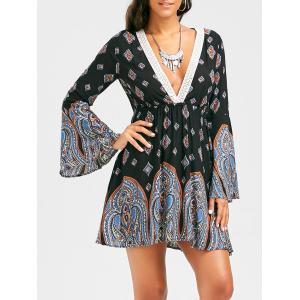 Paisley Print Plunging Neckline Bohemian Tunic Dress