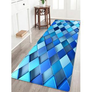 3D Diamond Check Pattern Anti-skid Water Absorption Area Rug - Blue - W24 Inch * L71 Inch