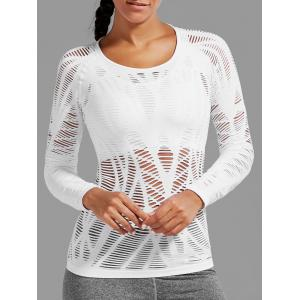 Sheer Ripped Long Sleeve  Sports T-shirt - White - S