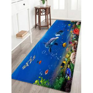 Ocean Dolphin Pattern Anti-skid Water Absorption Area Rug - Blue - W24 Inch * L71 Inch