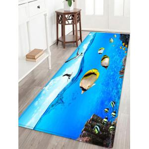 Sea Mew Fish Pattern Anti-skid Water Absorption Area Rug - Blue - W24 Inch * L71 Inch