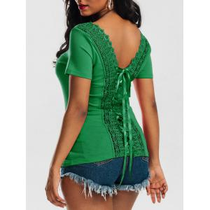 Laced Lace-up Top - Jade Green - M