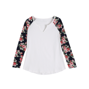 Low Cut Floral Sleeve T-Shirt -