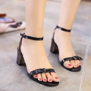 Mid Heel Double Belt Buckle Sandals - Black - 39