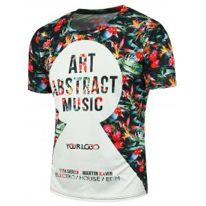 3D Floral Letters Printed T-shirt