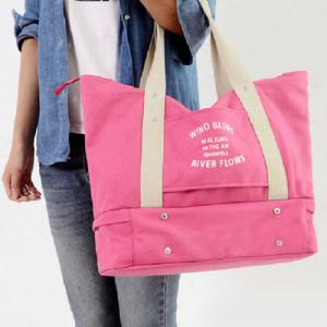 Canvas Graphic Printed Storage Tote Bag - Pink