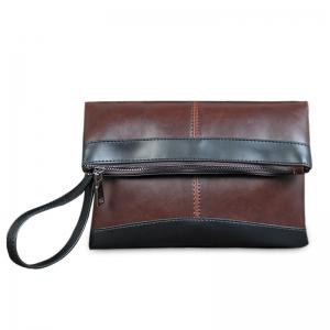 Fold Down Contrast Color Wristlet Clutch Bag - Deep Brown