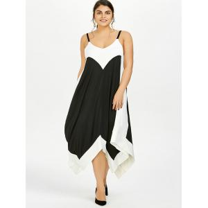 Plus Size Handkerchief Flowy Two Tone Slip Dress - BLACK 3XL