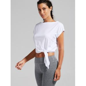 Active  Front Tie CroppedT-shirt - WHITE M