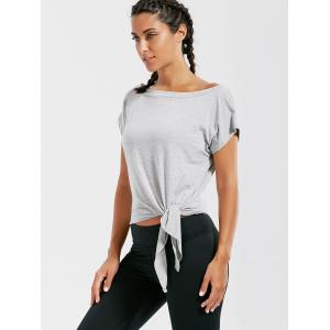 Active  Front Tie CroppedT-shirt - GRAY L