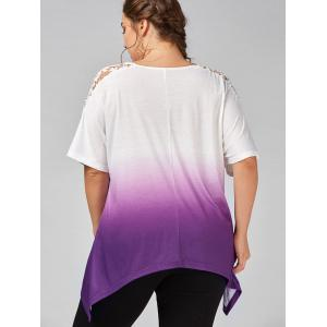 Plus Size Cutwork Ombre Top - PURPLE 2XL