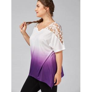 Plus Size Cutwork Ombre Top -