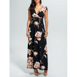 Floral High Split Surplice Maxi Dress - Black - Xl