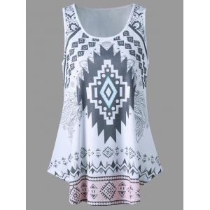 Curved Hem Tribal Tank Top - White - L