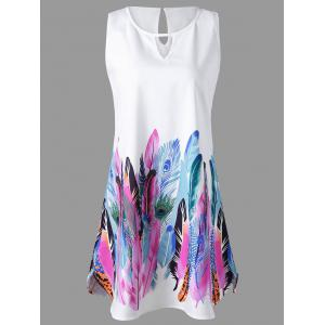 Feather Print Keyhole Neck Sleeveless Dress
