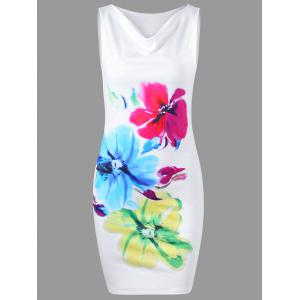 Cowl Neck Sleeveless Floral Tight Dress - White - 2xl