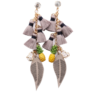 Rhinestone Heart Tassel Pineapple Chain Earrings