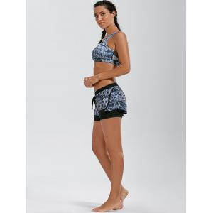 Tie Dye Drawstring Running Layer Sporty Shorts - BLACK S