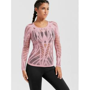Sheer Ripped Long Sleeve  Sports T-shirt -