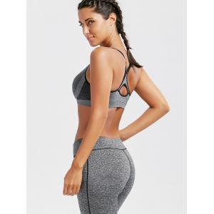 Racer Back  Padded Cutout Gym Bra - GRAY S