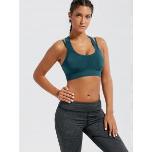 Strappy Padded Double-Layered Sports Bra - BLACKISH GREEN L