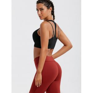 Strappy Padded Double-Layered Sports Bra - BLACK L