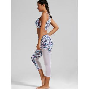 Sheer Mesh Padded Sports Bra and  Capri Printed Leggings -