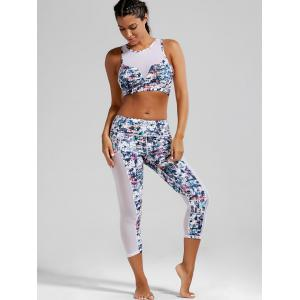 Sheer Mesh Padded Sports Bra and  Capri Printed Leggings - WHITE XL