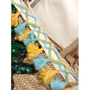 Sequined Pineapple and Tassel Straw Bag - BEIGE