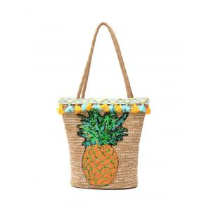 Sequined Pineapple and Tassel Straw Bag