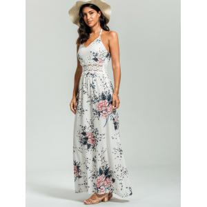 Maxi Floral Cut Out Slip Dress for Summer - Blanc S