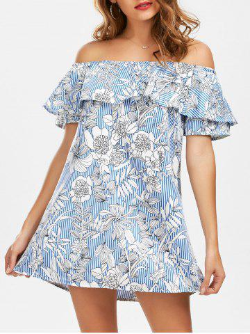 Sale Off The Shoulder Floral Print Striped Dress LIGHT BLUE M