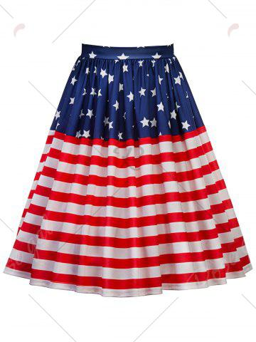Fashion American Flag Patriotic High Waisted Skirt - L RED Mobile