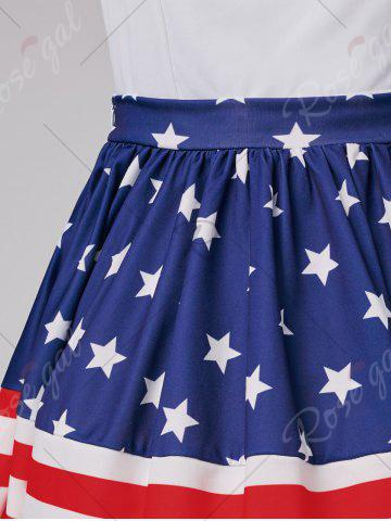 Hot American Flag Patriotic High Waisted Skirt - L RED Mobile