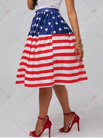 Fancy American Flag Patriotic High Waisted Skirt - L RED Mobile