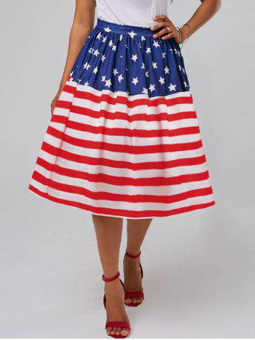 Fancy American Flag Patriotic High Waisted Skirt - XL RED Mobile